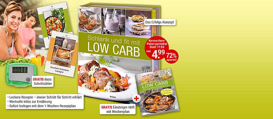 """#Genussvoll **schlank, gesund** und **satt** mit Low Carb  Aus gutem Grund hat sich **Low-Carb** zum **Ernährungs-Trend Nr. 1** entwickelt: Low Carb ist gesund, macht schlank & fit und schmeckt dabei einfach köstlich! Die Kombination aus wenig Kohlenhydraten und frischem Obst, Gemüse, Fleisch, Fisch und hochwertigen Fetten **lässt die Pfunde purzeln** und bringt Sie genussvoll durch den Tag.  **Das Erfolgs-Konzept """"Low Carb"""" – genial einfach!**  Die tollen Rezepte der Edition """"Low Carb"""" sind schnell zubereitet, machen satt und **schmecken der ganzen Familie** – und dabei ist die Umstellung auf dieses Ernährungskonzept wirklich denkbar einfach!  * Leckere, abwechslungsreiche Rezepte für jede Gelegenheit – immer Schritt für Schritt genau erklärt * Wertvolle Informationen und hilfreiche Tipps zur gesunden Low-Carb-Ernährung * Schnelle Rezepte – immer mit Zeitangabe *Sofort loselegen mit dem 1-Wochen-Plan   **Sie werden begeistert sein, wie einfach Abnehmen sein kann – jetzt bestellen!**  {{ button href=""""/weltbild-editionen/hobby-praxiswissen/lowcarb/bestellen"""" text=""""Jetzt bestellen""""}}"""