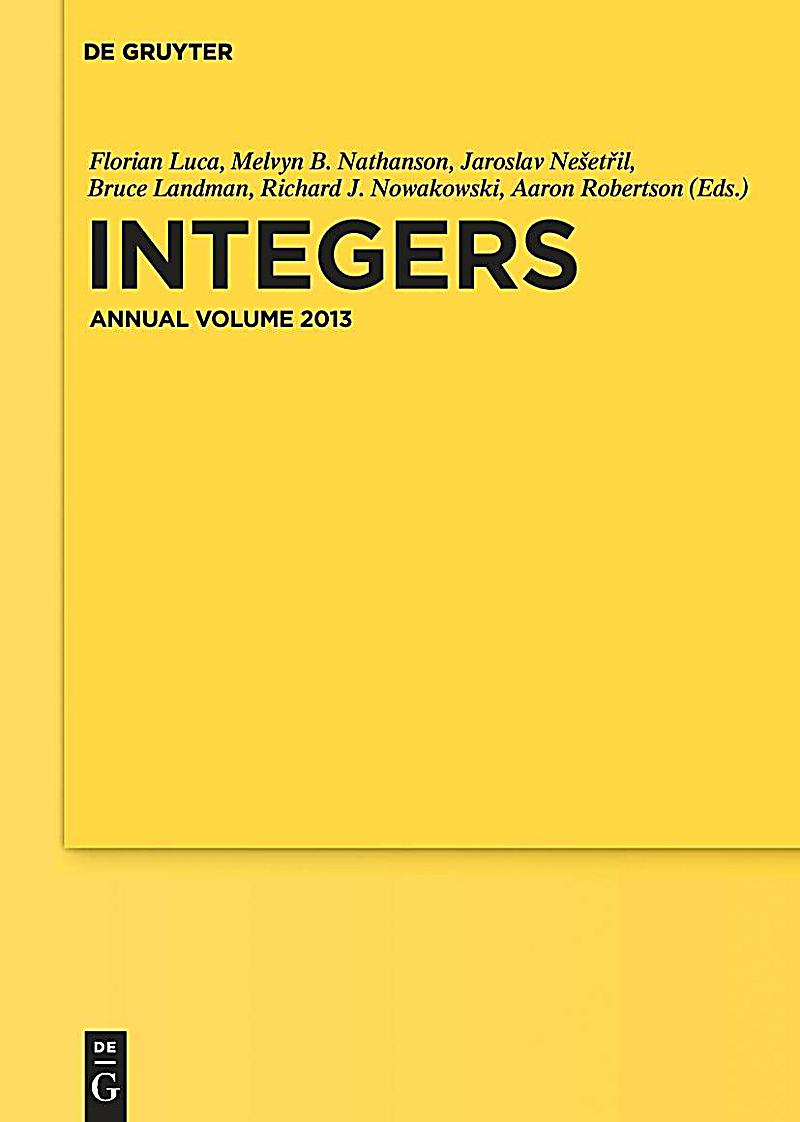 Integers. Annual Volume 2013