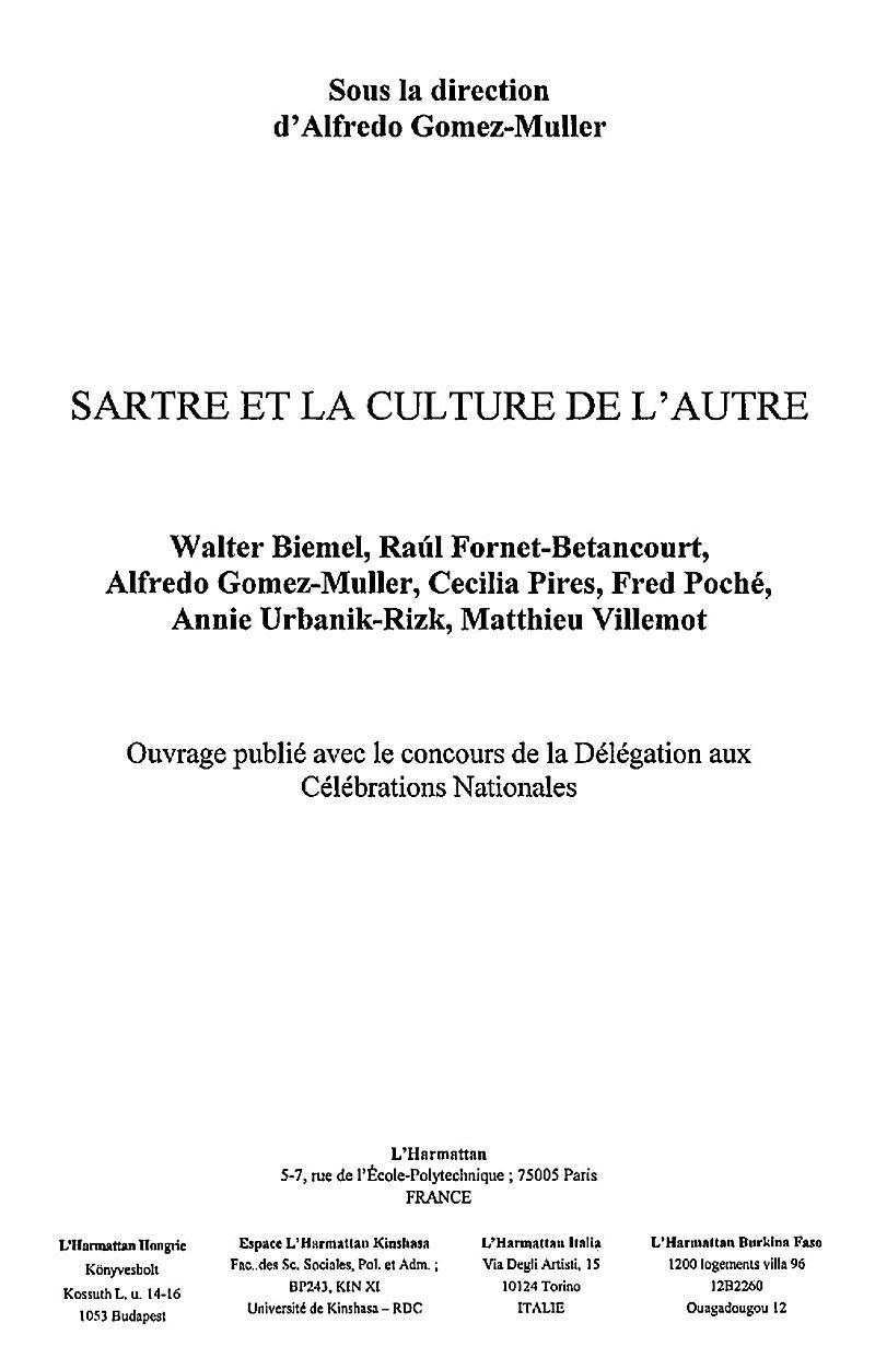 Sartre et la culture de l´autre