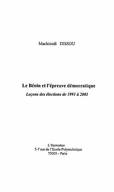 Benin et l´epreuve democratique