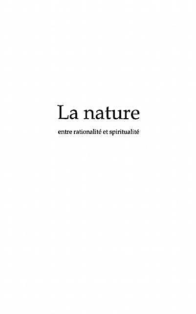 Nature entre rationalite et spritualite