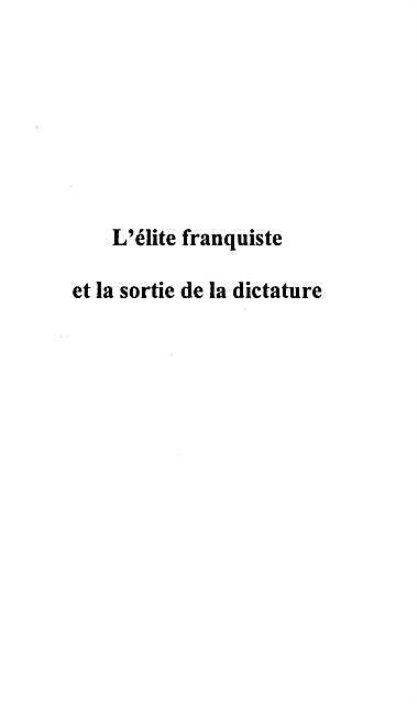 L´elite Franquiste Et La Sortie De La Dictature