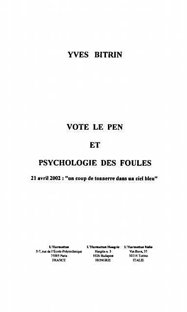 Vote le pen et psychologie desfoules
