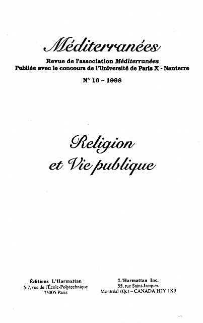 Religion Et Vie Publique