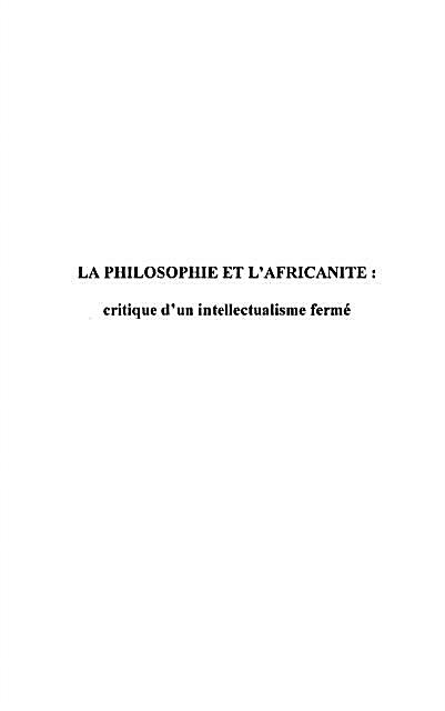 Philosophie et l´africanite critique d´u