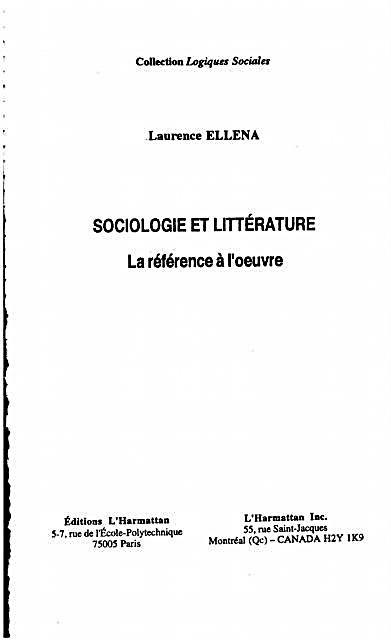Hors-collection: Sociologie et Litterature