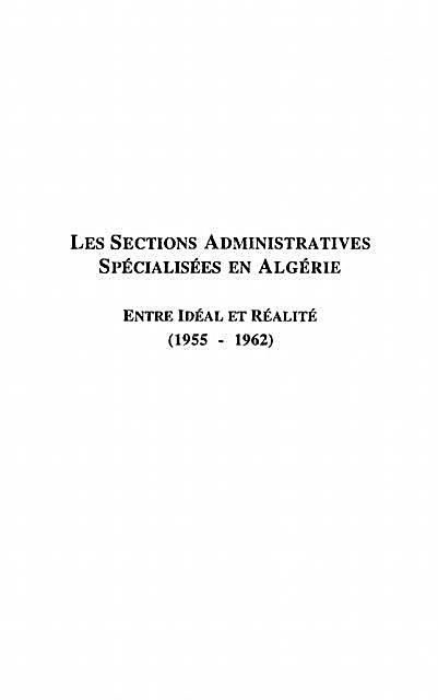 Les Sections Administratives Specialisees En Algerie