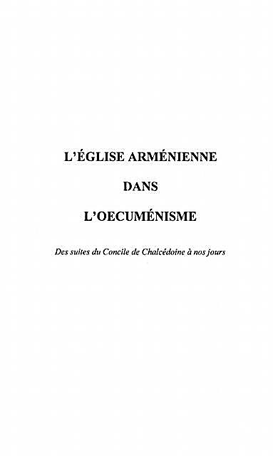 L´eglise Armenienne Dans L´?´cumenisme