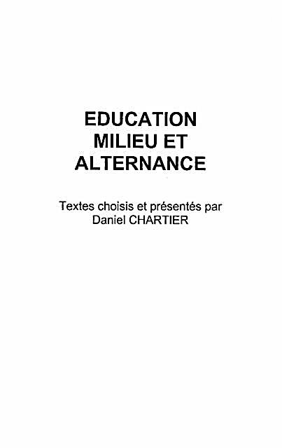 Education milieu et alternance
