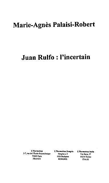 Juan rulfo l´incertain