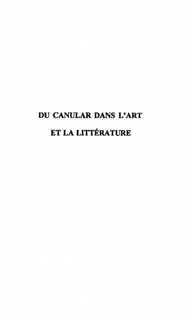 Du canular dans l´art et la litterature