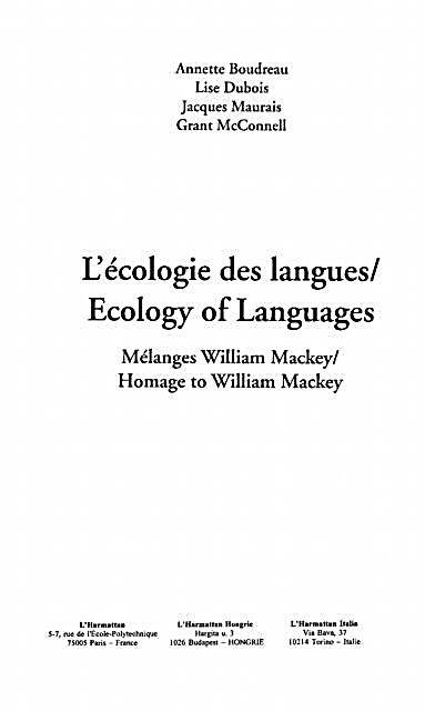 Ecologie des Langues - Ecologyof Languages