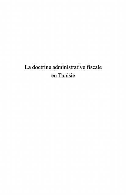 Doctrine administrative fiscale en tunis