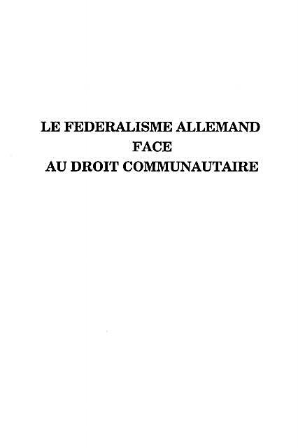 Le Federalisme Allemand Face Au Droit Communautaire