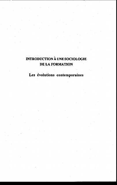 Introduction a une Sociologie de la Formation