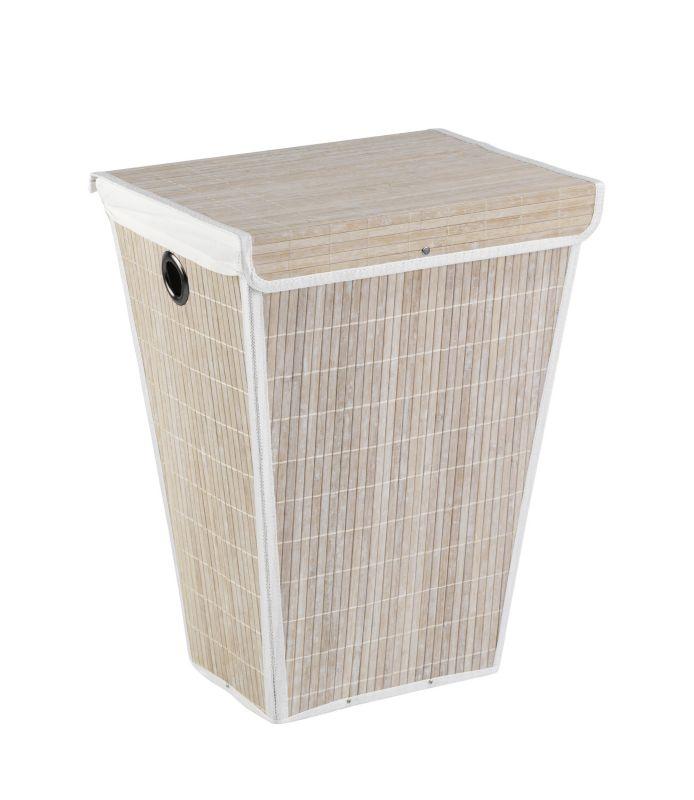 Wenko Wäschetruhe Bamboo Weiß Wäschekorb, 55 l, konisch | Weltbild.de | {Badhocker mit wäschetruhe 95}