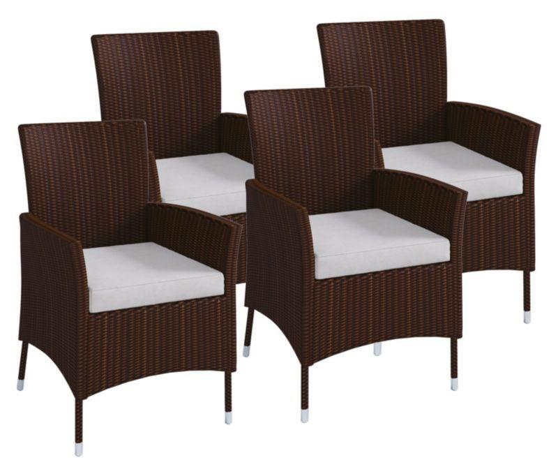VCM Polyrattan Stuhl Stühle Rattan Gartenstühle Sessel Gartensessel Braun  VCM Rattanstuhl Braun Farbe: 4x Stühle | Weltbild.de