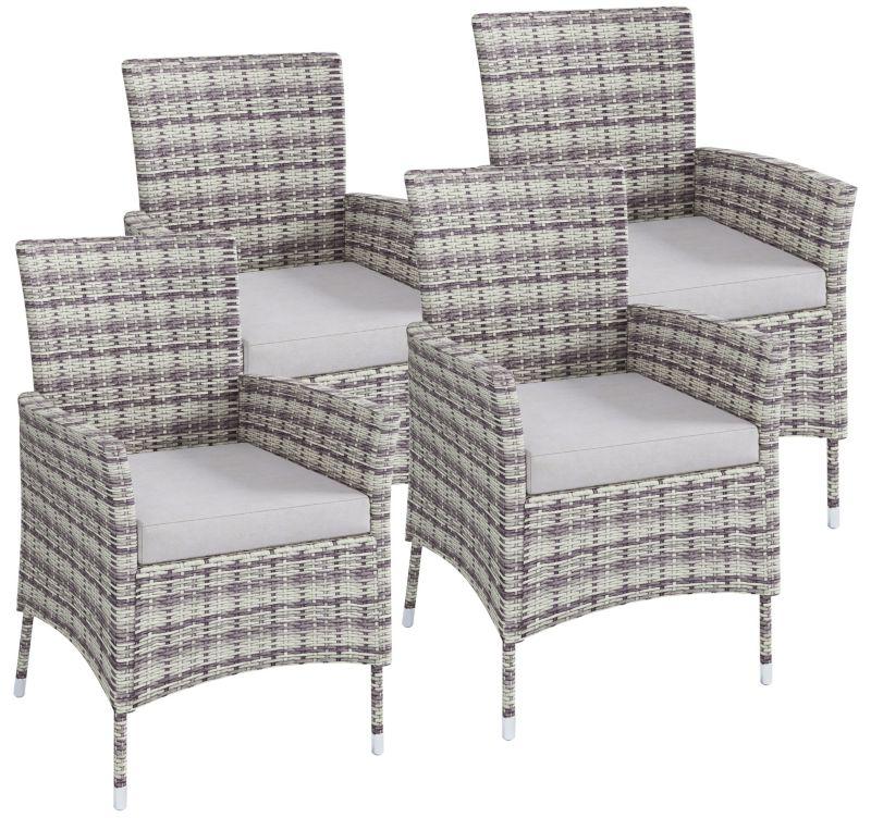 VCM Polyrattan Stuhl Stühle Rattan Gartenstühle Sessel Gartensessel Grau  VCM Rattanstuhl Grau Farbe: 4x Stühle | Weltbild.de