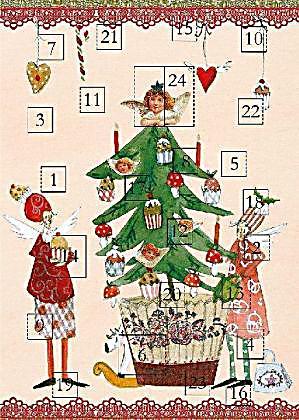 adventskalender doppelkarte 2 engel mit weihnachtsbaum. Black Bedroom Furniture Sets. Home Design Ideas