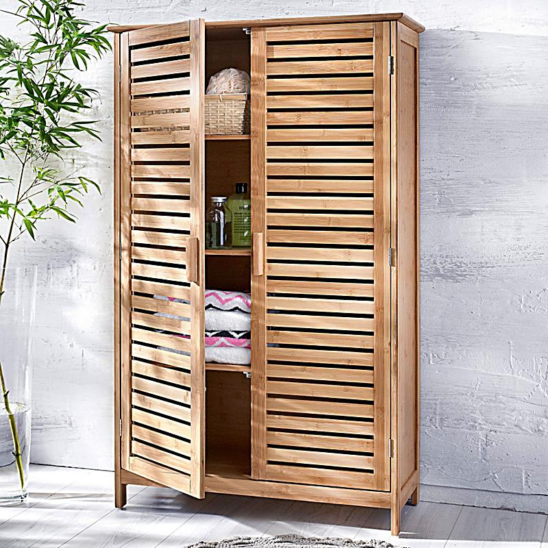 Badschrank Bamboo, breit, Farbe: braun bestellen | Weltbild.de | {Badschrank bambus 3}