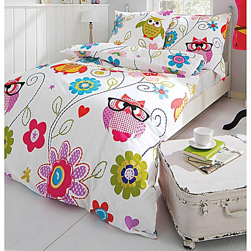 bettw sche eule blumen gr e 155 x 220 cm. Black Bedroom Furniture Sets. Home Design Ideas