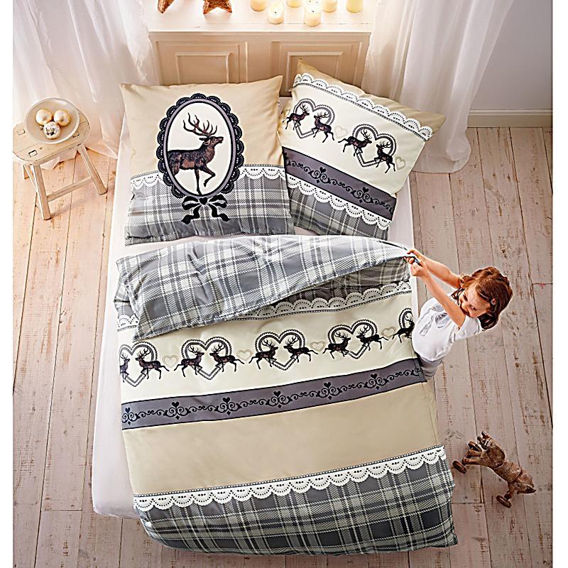 bettw sche hirsch renforc beige grau 155x220. Black Bedroom Furniture Sets. Home Design Ideas