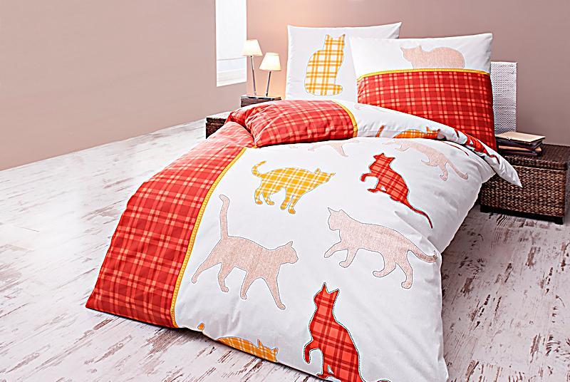 bettw sche katze rot 135 x 200 cm bestellen. Black Bedroom Furniture Sets. Home Design Ideas