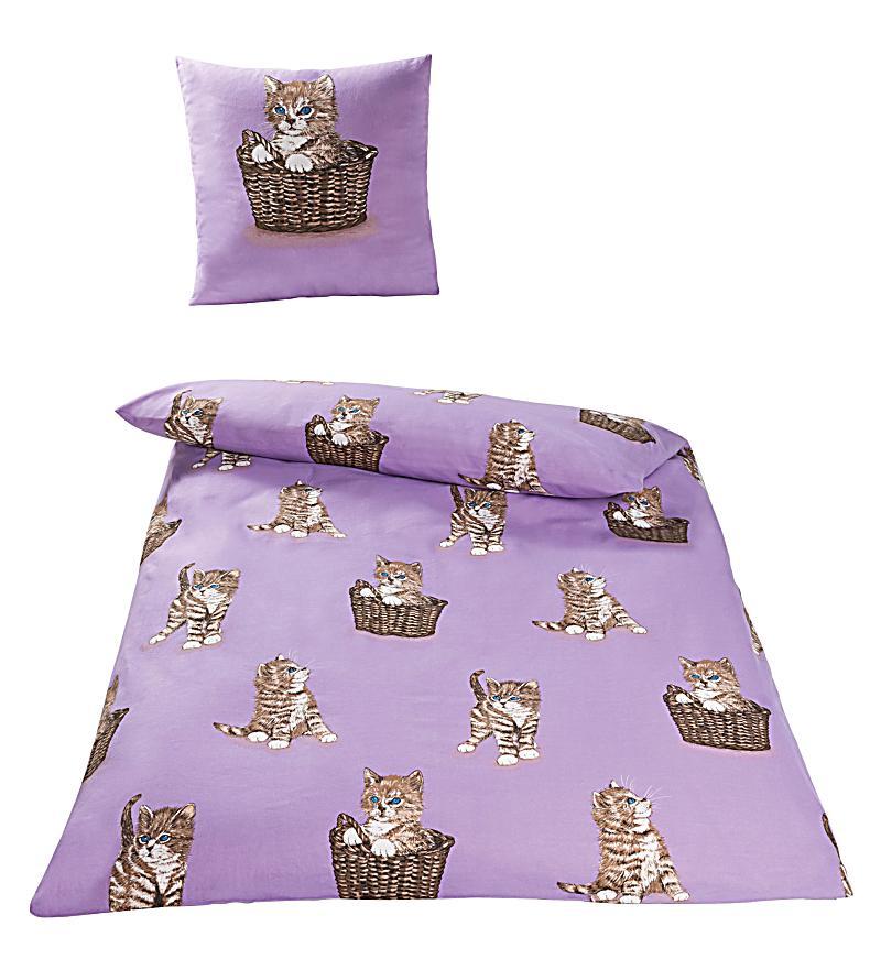 bettw sche katze violett renforc 135 x 200. Black Bedroom Furniture Sets. Home Design Ideas
