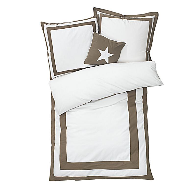 bettw sche mit gratis kissen wei taupe 135x200. Black Bedroom Furniture Sets. Home Design Ideas