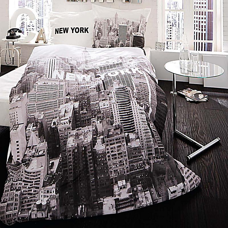 bettw sche new york schwarz 155x220cm kissenbezug 80x80cm. Black Bedroom Furniture Sets. Home Design Ideas