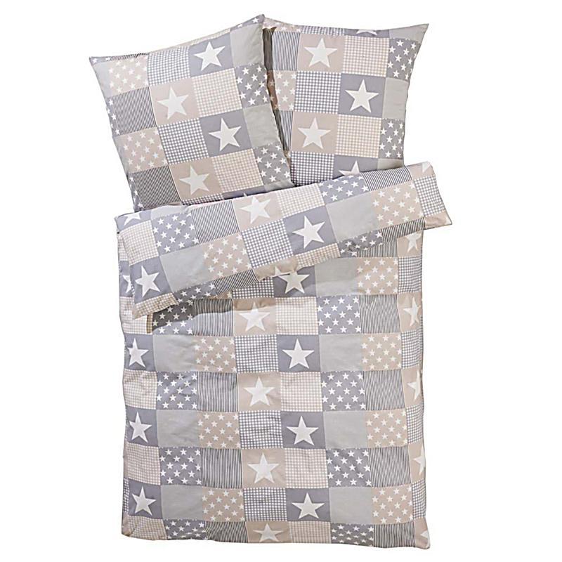 bettw sche patchwork sterne hellgrau 135x200. Black Bedroom Furniture Sets. Home Design Ideas