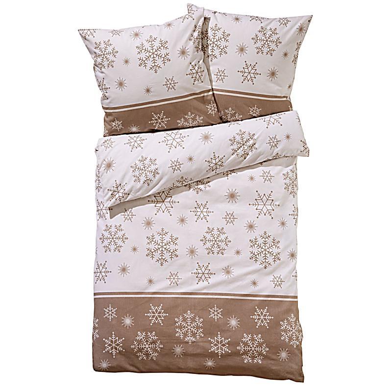 bettw sche schneestern beige braun 135x200. Black Bedroom Furniture Sets. Home Design Ideas