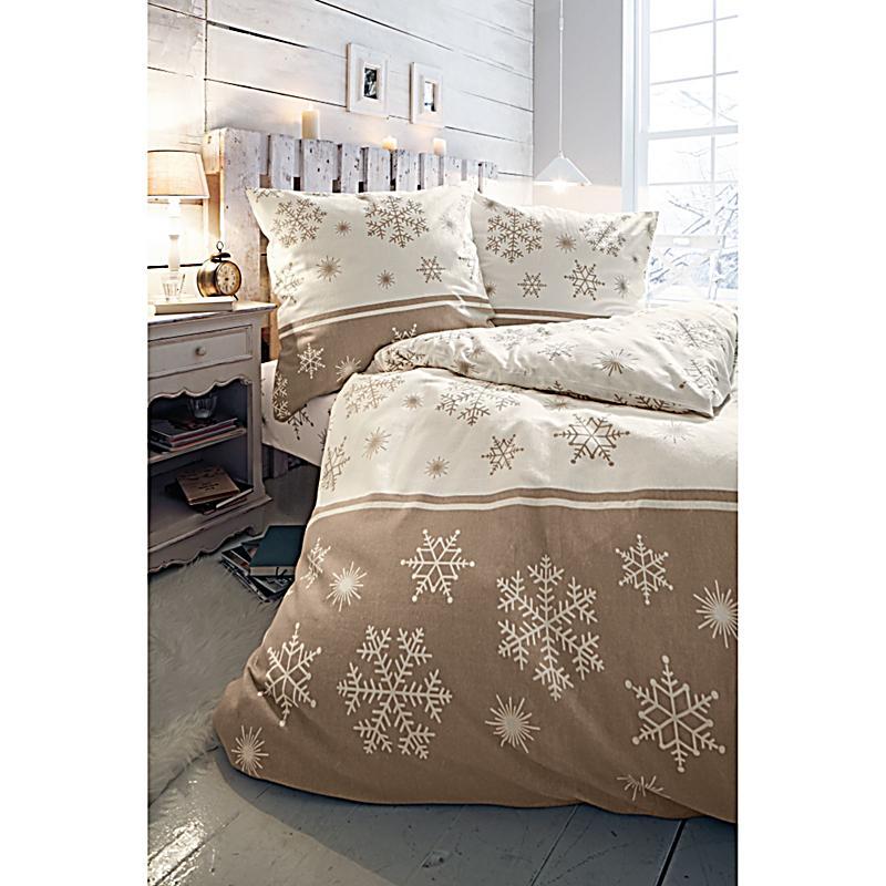 bettw sche schneestern beige braun 155x220. Black Bedroom Furniture Sets. Home Design Ideas