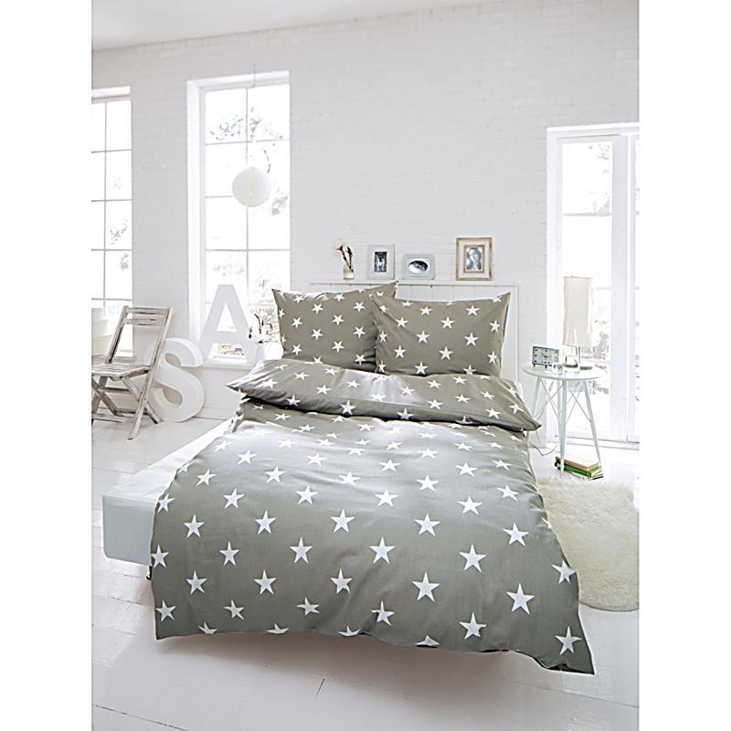 bettw sche sterne hellgrau 135x200 cm kissenbezug 80x80. Black Bedroom Furniture Sets. Home Design Ideas