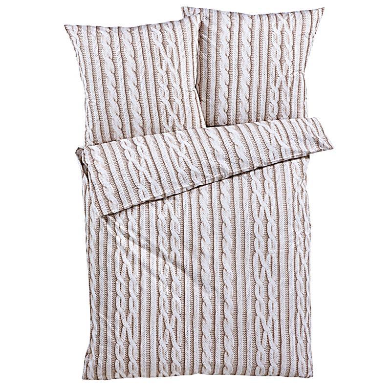 bettw sche strick beige 155x220 jetzt bei bestellen. Black Bedroom Furniture Sets. Home Design Ideas