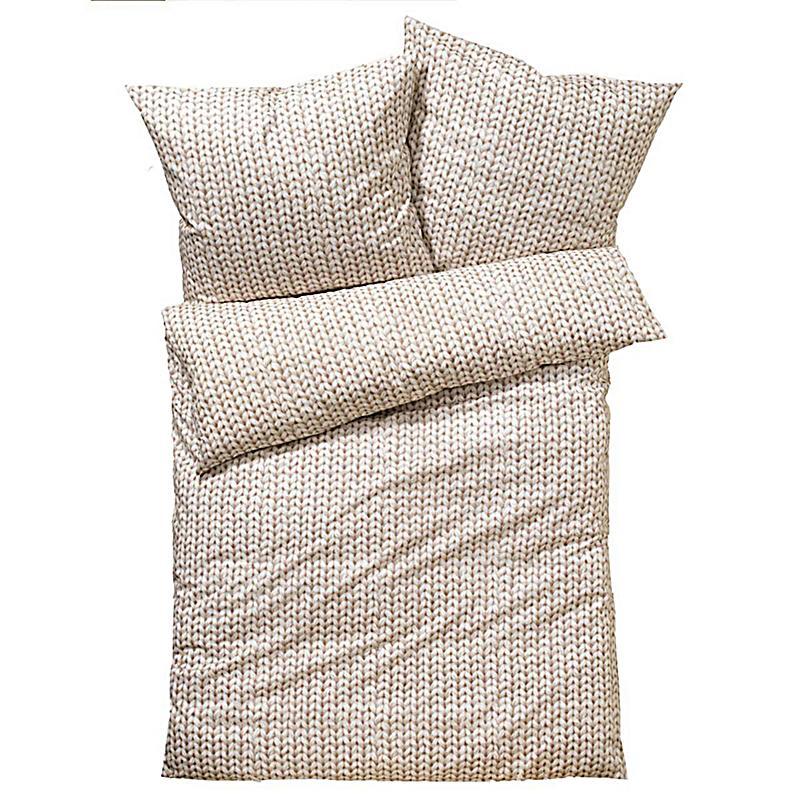 bettw sche strick natur 155x220cm kissenbezug 80x80 cm. Black Bedroom Furniture Sets. Home Design Ideas