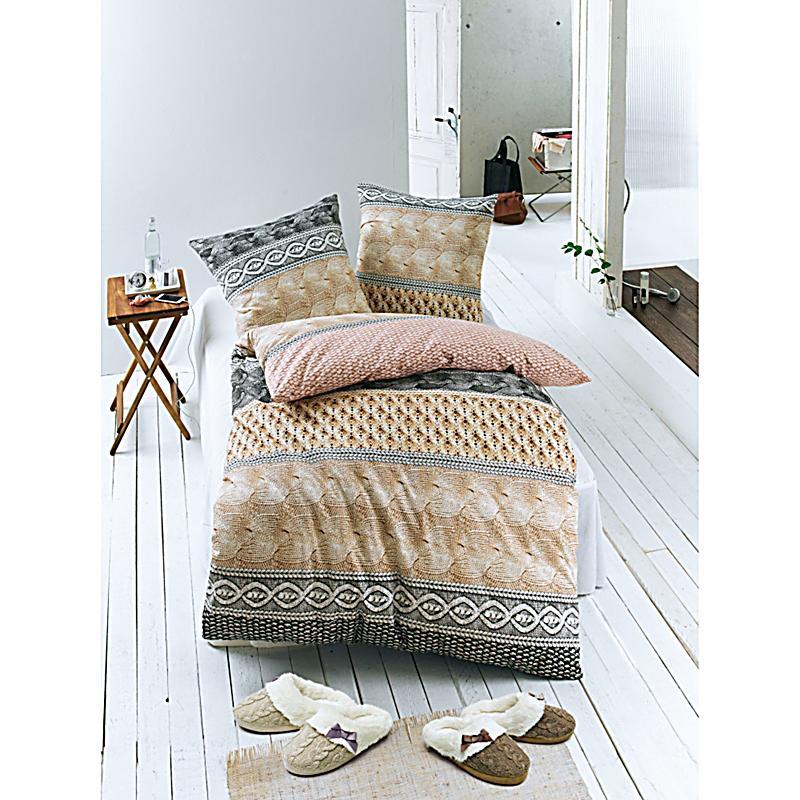 bettw sche strickoptik grau beige 135x200 bestellen. Black Bedroom Furniture Sets. Home Design Ideas