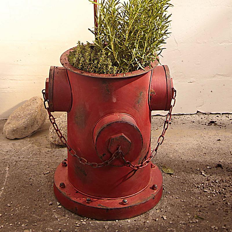 Blumentopf hydrantmetall antik rot mit kette 35x32x36cm for Blumentopf rot