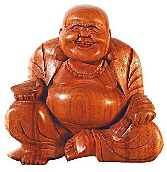 Buddha Lachend In Entspannter Haltung Braun 15 Cm