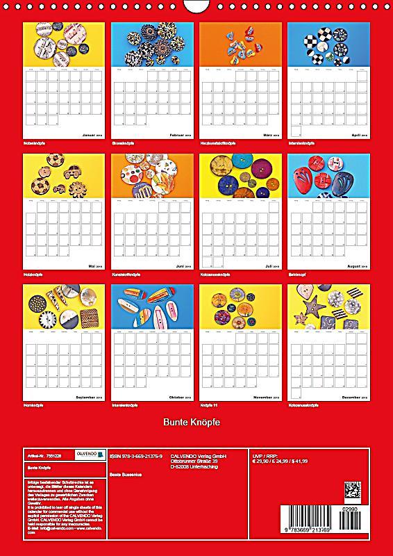 bunte kn pfe wandkalender 2018 din a3 hoch dieser erfolgreiche kalender wurde dieses jahr mit. Black Bedroom Furniture Sets. Home Design Ideas