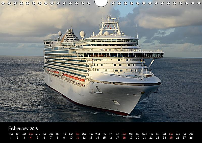 Cruise ships around the world wall calendar 2018 din a4 for Around the world cruise ship