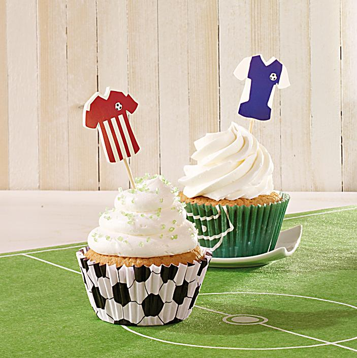 cupcake deko set fussball 60 teilig bestellen. Black Bedroom Furniture Sets. Home Design Ideas