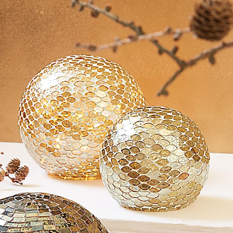 Deko objekt mosaik kugel goldfarben gro for Mosaik deko