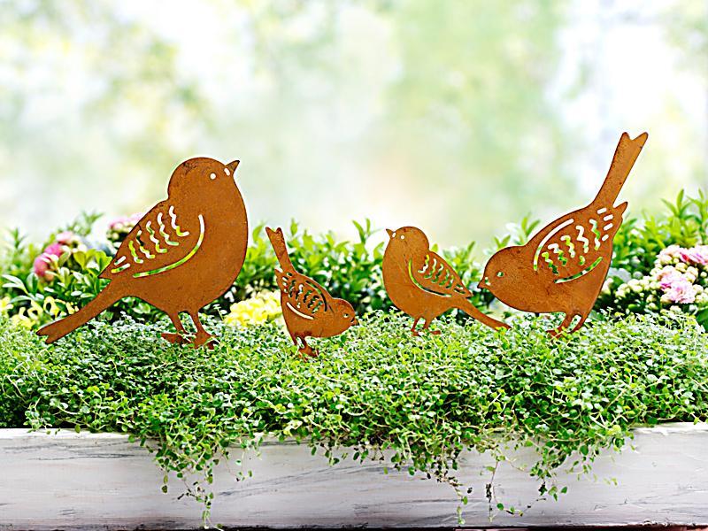 Dekostecker vogelfamilie 4er set jetzt bei for Dekostecker metall