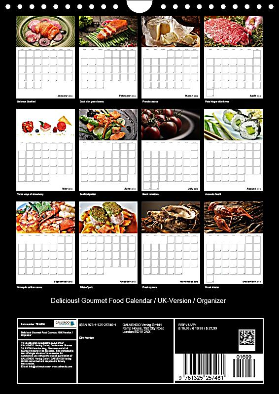 Calendar Organization Xiii : Delicious gourmet food calendar uk version organizer wall