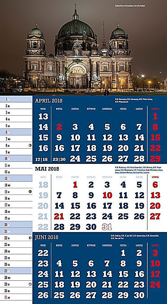 deutschland 2018 3 monatskalender kalender bei. Black Bedroom Furniture Sets. Home Design Ideas