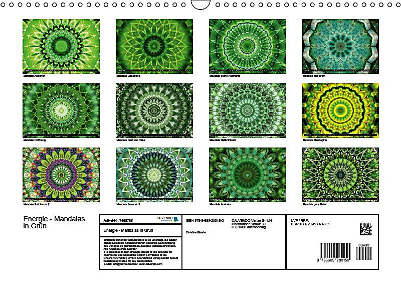 energie mandalas in gr n erneuerung durch die farbe gr n wandkalender 2018 din a3 quer. Black Bedroom Furniture Sets. Home Design Ideas