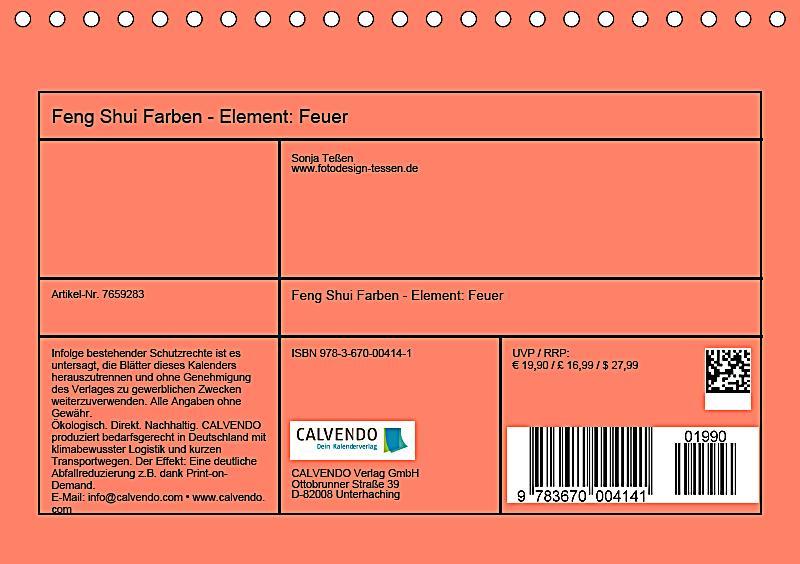 Feng Shui Farben Element Feuer Tischkalender 2019 Din A5 Quer