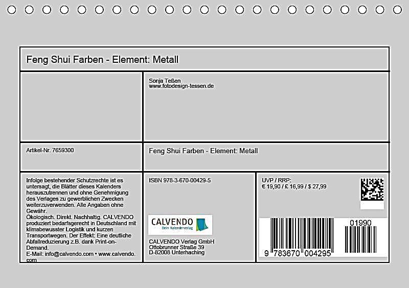 Feng Shui Farben feng shui farben element metall tischkalender 2019 din a5 quer