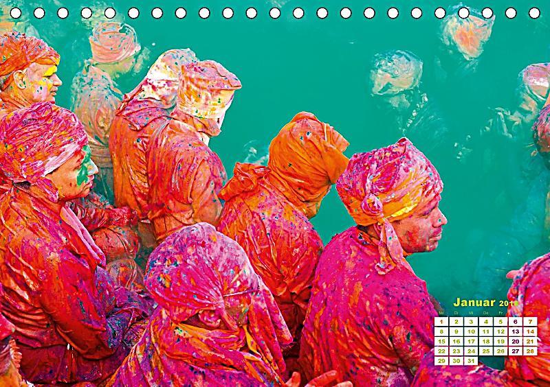 fest der farben holi in indien tischkalender 2018 din a5 quer kalender bestellen. Black Bedroom Furniture Sets. Home Design Ideas